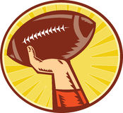American Football Hand Throwing Ball Stock Photo