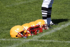 American football helmet. On grass Royalty Free Stock Images