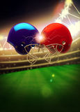American football helmet background. American football sport invitation poster or flyer background with empty space royalty free stock photography