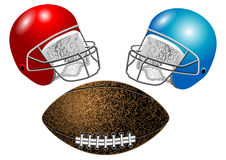 American football, helmet and ball Royalty Free Stock Image
