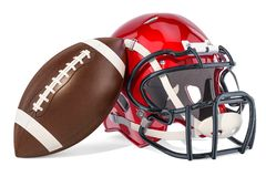 American football helmet and ball, 3D rendering. Isolated on white background Royalty Free Stock Images