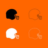 American football helmet black and white set icon .