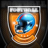 American football helmet in center of shield. Sport logo for any team. Or competition royalty free illustration