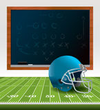 American Football Helmet and Chalkboard Royalty Free Stock Image