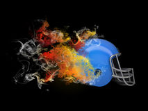 American football helmet in the colored smoke Stock Photography