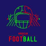 American football helmet with court and goal post logo icon outline stroke set dash line design illustration. Isolated on dark blue background with soccer text stock illustration