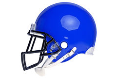 American football helmet cut out. Photo of a blue American football helmet isolated on a white background with detailed clipping path Stock Photo
