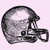 American football helmet. Doodle style, sketch illustration, hand drawn, vector Stock Image