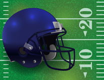 American Football Helmet on Field Illustration. An American Football helmet on a realistic textured field background. Vector EPS 10 available. EPS file contains Stock Image