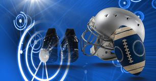 American football helmet and gear equipment with technology transition. Digital composite of American football helmet and gear equipment with technology Royalty Free Stock Image