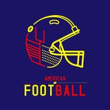 American football helmet with goal post logo icon outline stroke set dash line design illustration. Isolated on dark blue background with soccer text and copy stock illustration