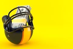 American football helmet with money stock illustration