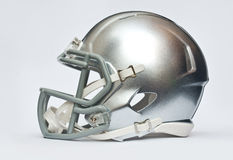 American football helmet. Silver american football helmet  on white background Royalty Free Stock Image