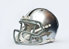 American football helmet. Silver american football helmet  on white background Royalty Free Stock Photography