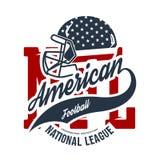 American football helmet tee print vector design on white background. Superior United States of America flag emblem. Premium quality rugby t-shirt retro sport stock illustration
