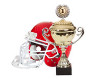 American football helmet and trophy royalty free stock photo