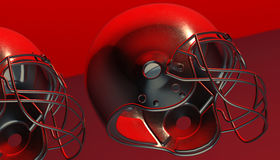 American football helmet on various material and background. American soccer 3d render helmet Stock Photos