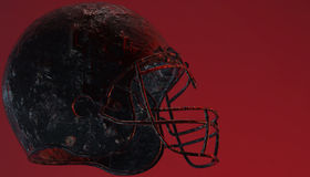 American football helmet on various material and background. American soccer 3d render helmet Royalty Free Stock Images
