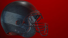 American football helmet on various material and background. American soccer 3d render helmet Royalty Free Stock Photography