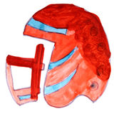 American football helmet watercolor cartoon Royalty Free Stock Photography