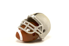 American Football and Helmet. American football with a helmet on white background Stock Images