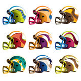 American football helmets. Set of American football helmets. Vector illustration Stock Photography