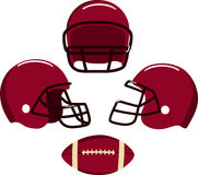American football helmets and ball.  Vector Stock Photography