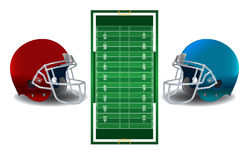 American Football Helmets and Field Illustration Stock Images
