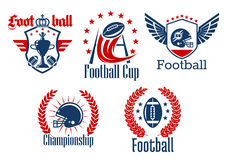 American football heraldic sporting symbols Stock Images
