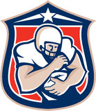 American Football Holding Ball Shield Retro Royalty Free Stock Image