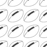 American football icon isolated on white background. vector illustration. line style. Seamless ball pattern royalty free illustration