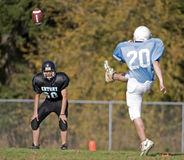 American football Kick off. October 18, 2008 Century High School youth football V Catholic Youth Organization Eagles (CYO).  Final score Century 14 CYO 48.  CYO Royalty Free Stock Photography