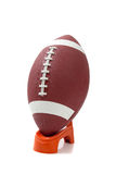 American Football on a kicking tee Royalty Free Stock Photos