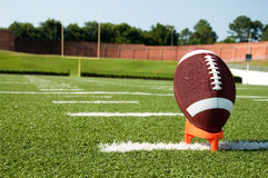 American Football on Kicking Tee Stock Photography