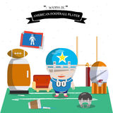 American football kid character  Royalty Free Stock Photo