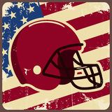 American football label with helmet and flag Royalty Free Stock Photo