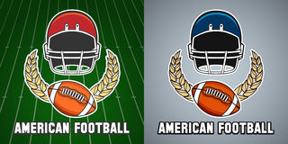 American football league college emblem. American football league vector college emblem with helmet and rugby ball Stock Images