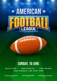 American football league poster, banner or flyer design, footbal. L ground as background Stock Photography