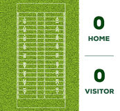 American football line, game score and green grass field backgr. Outdoor American football line, game score and green grass field background for the mockup Royalty Free Stock Photography