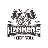 American Football logo. Hammers new york sign. Letterpress retro design. Isolated on white background Stock Image