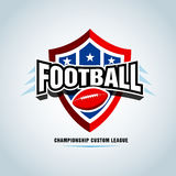 American football logo template, badge, t-shirt, label, emblem. Red, blue, black color version. Stock Photos
