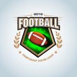 American football logo template, badge, t-shirt, label, emblem. Red, blue, black color version. Stock Image