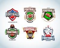 American football logo templates, badge, crests, t-shirt, label, emblem, t-shirt, icons. Football helmet, player. Stock Photo