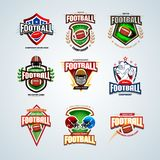 American football logo templates set and badges, crests and t-shirt, label and emblem, t-shirt and icons. American football logo templates set, badges & crests Stock Photos