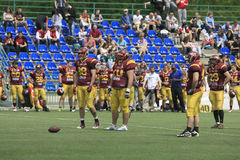 American Football Match Between Wolves And Blue Dragon Stock Photography