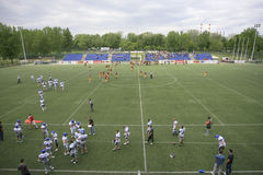 American Football Match Between Wolves And Blue Dragon Royalty Free Stock Image