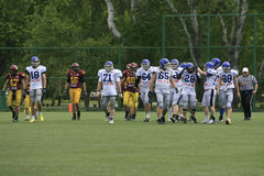 American Football Match Between Wolves And Blue Dragon Royalty Free Stock Photos