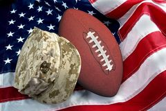 Football and Pride. American football and the military pride stock photos