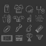 American football outline icons Royalty Free Stock Photos