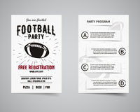 American football party back and front flyer Stock Photography